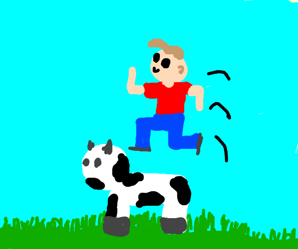 Person jumping over a cow