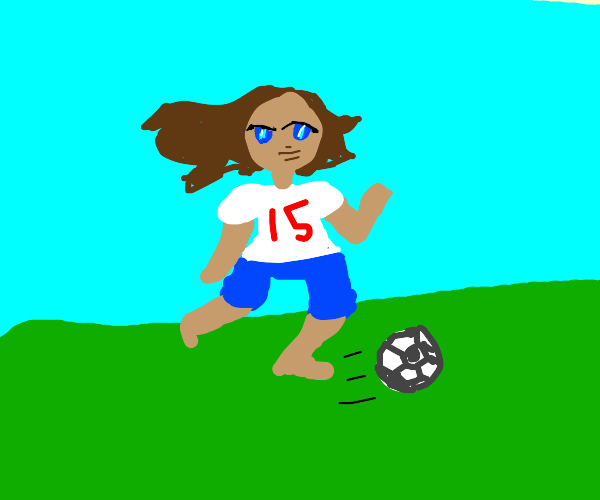 a somewhat attractive woman plays soccer