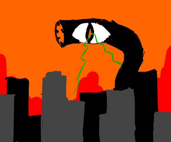 lazer eyed worm destroys city