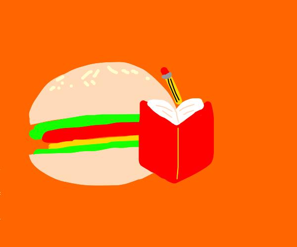 Hamburger writing a book