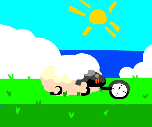 Sheep with a clock