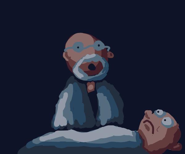 Doctor giving kid bad news