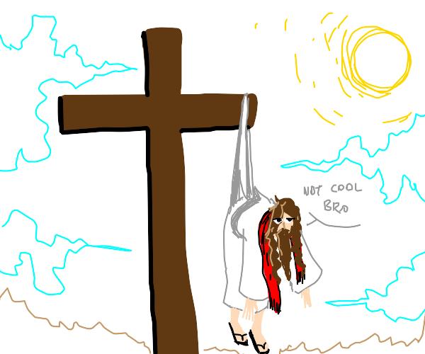 Jesus wedgied on cross