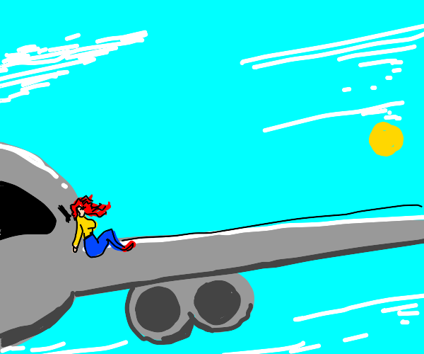 woman sitting on a planes wing