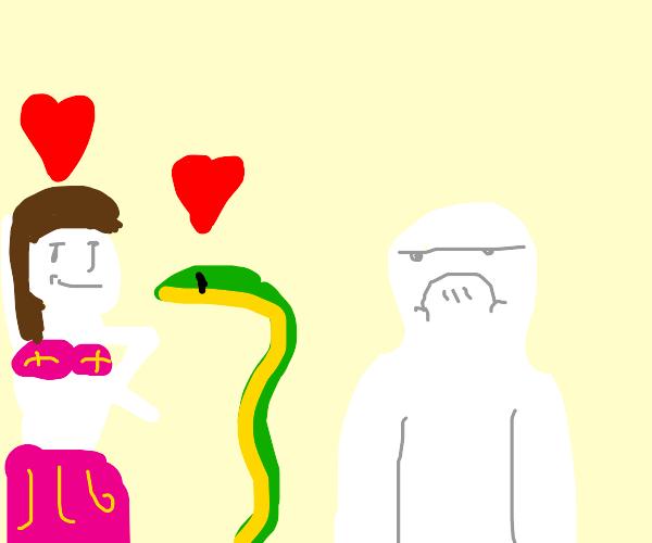 Man is upset at a bellydancer loving a snake