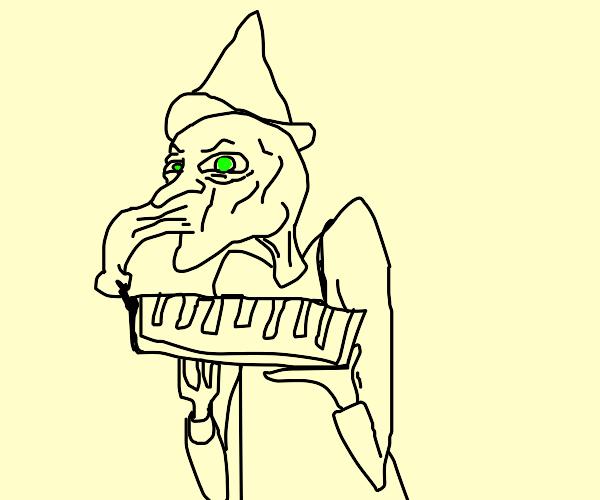 Green Wizard blowing medolica
