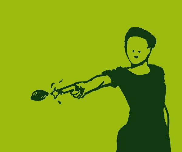 Person shooting lemon gun