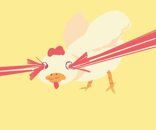 chicken with a laser eye