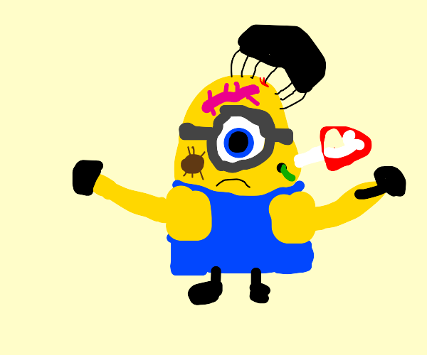 A minion with parasites on his face