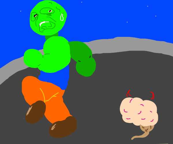green giant scared of seeing a brain