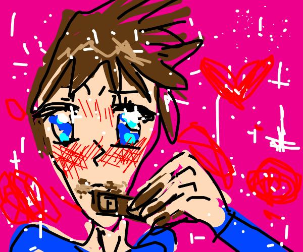 Anime guy eats chocolate