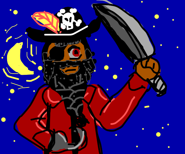 angry pirate with braided beard at night