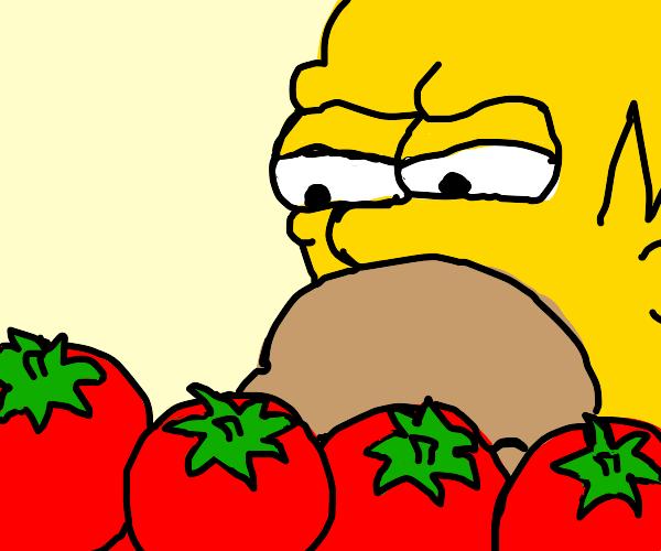 homer looking at tomatoes suspiciously
