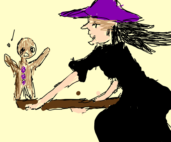 A Witch chasing Gingerbread Man