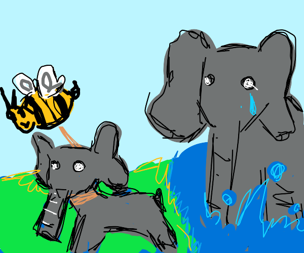 Bee steals elephant from elephant mom