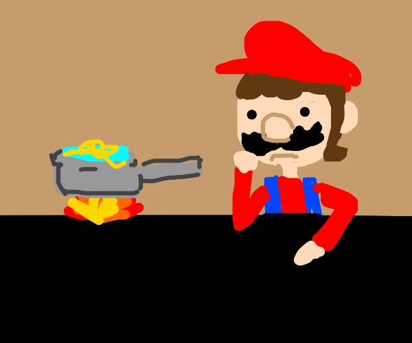 Mario cooking spaghetti