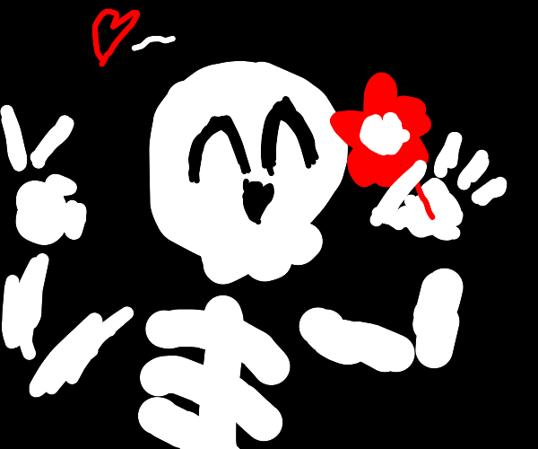 Cute skeleton with a flower makes peace sign