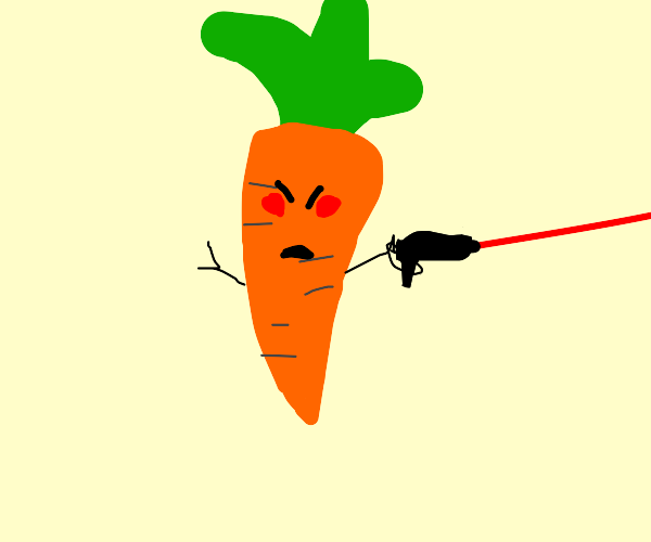 angry carrot shoots lazer gun
