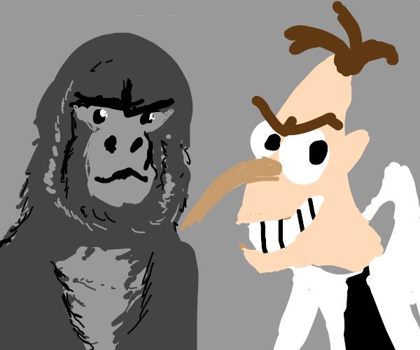 Doofenschmirtz and a gorilla