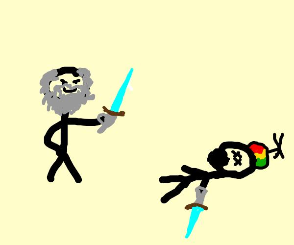 Old man kills kid in diamond sword duel