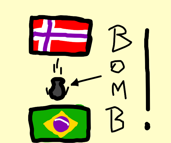 Norway defeats brazil with bomb.