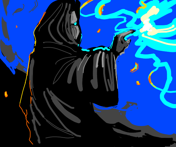 Mage casting blue fire