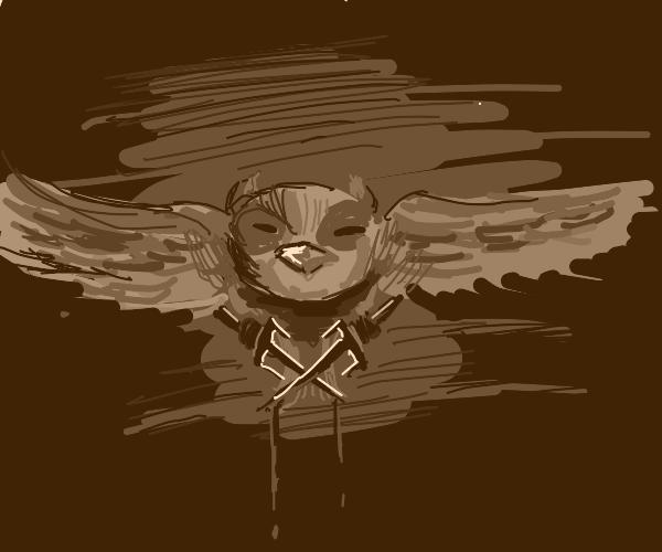 An owl had killed a man with a kunai