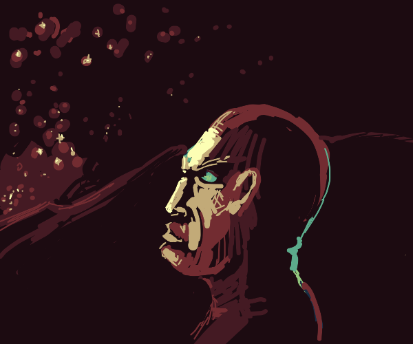 A guy staring angrily at the stars