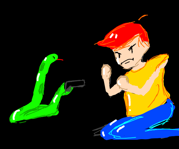 angry snake shoots a man