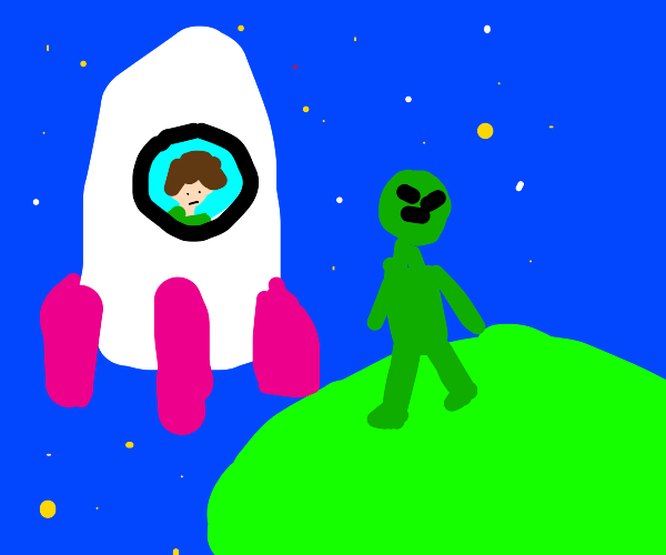 Space traveller selling drone to alien