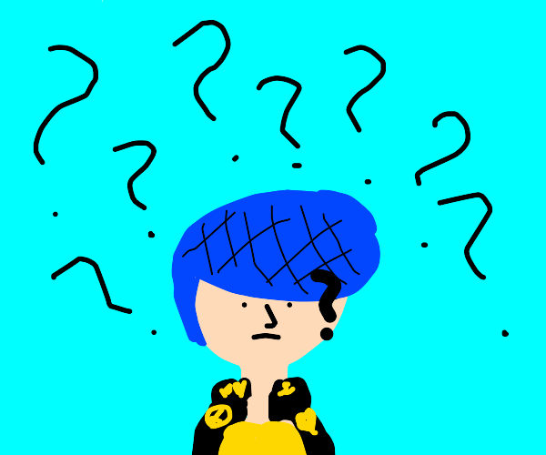 pensive Josuke on blue background