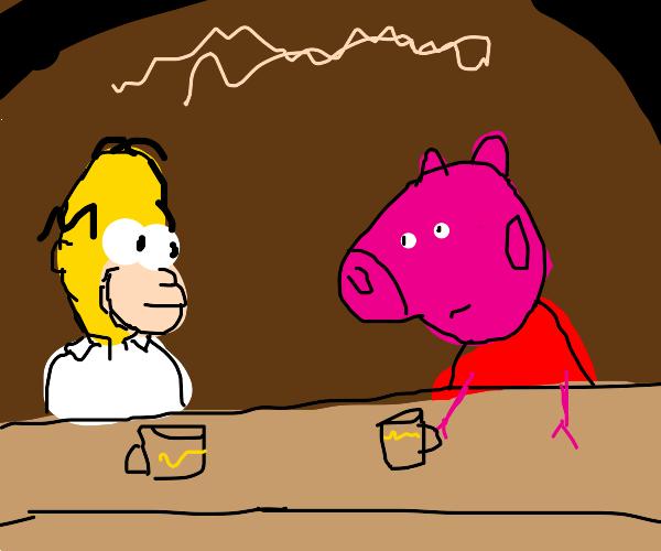 Homer Simpson and Peppa Pig drink beer