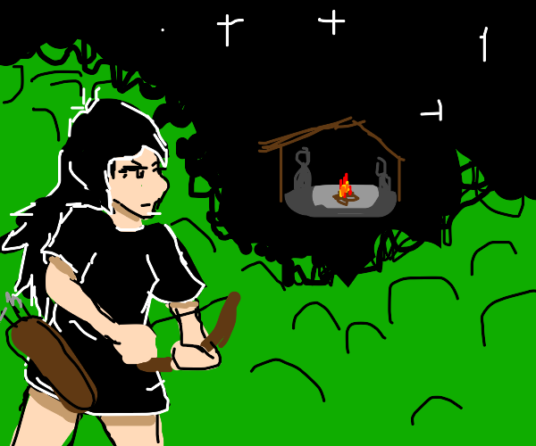 Girl in black with bow near a campsite