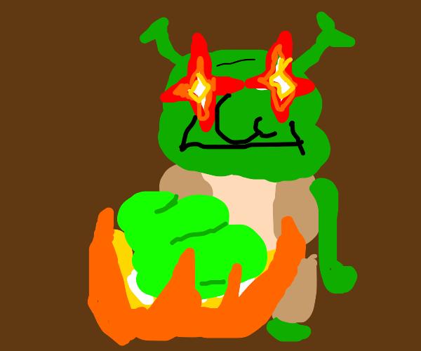 Shrek breaking a pumpkin