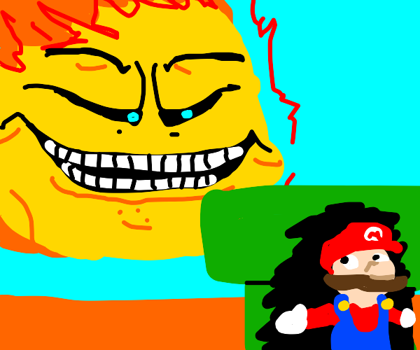 Mario looks at sun over a pipe