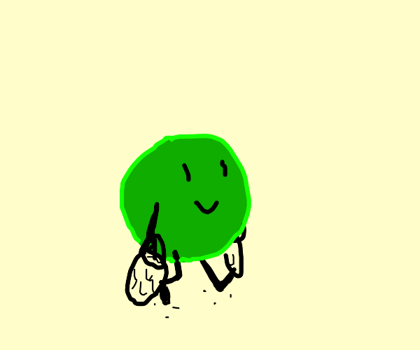 A literal pea (the vegetable) going shopping.