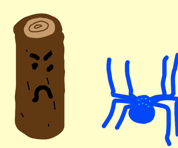 Tree log is not amused by blue spider