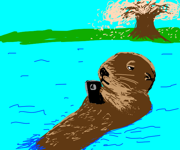 Otter uses IPhone in river near cherry tree