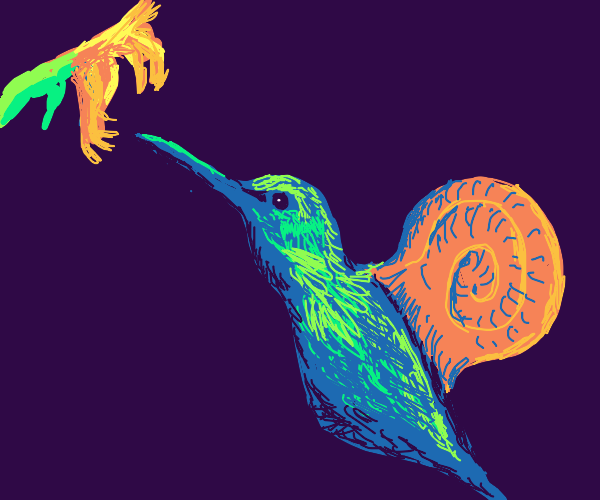 Fusion of a humming-bird and a snail
