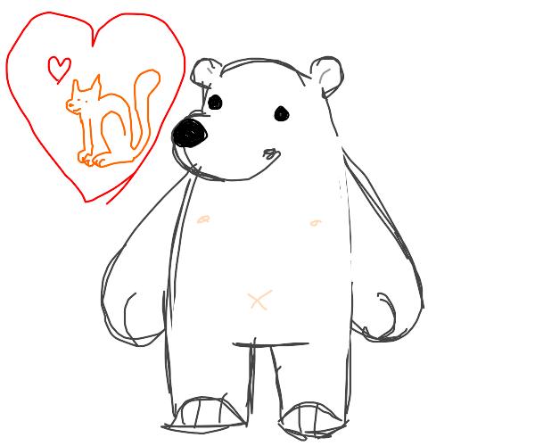 Polar bear loves cat