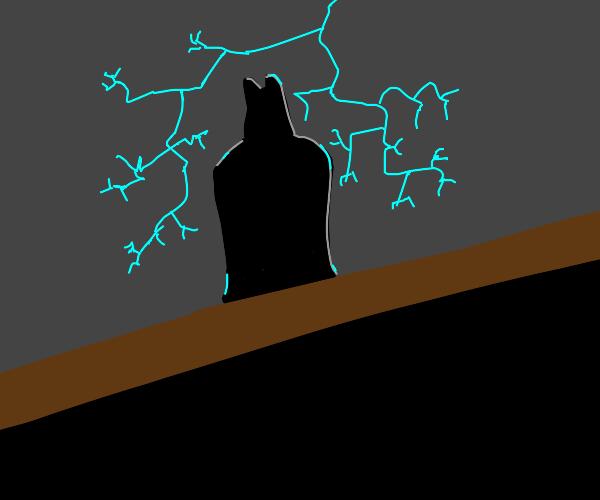 Batman on roof w lightning behind him