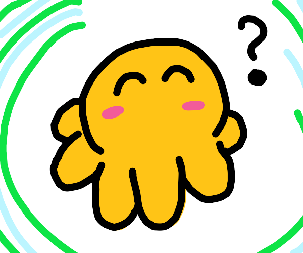 Lil' baby yellow octopus asks you a question
