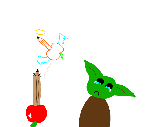 Baby yoda is sad someones apple pencil is ded