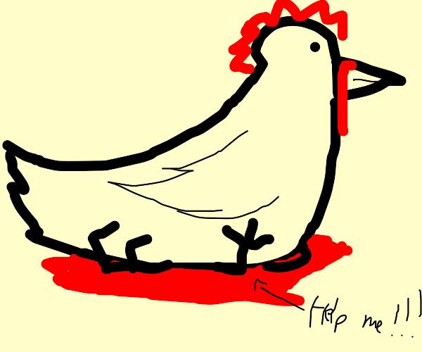 giant chicken squashing man