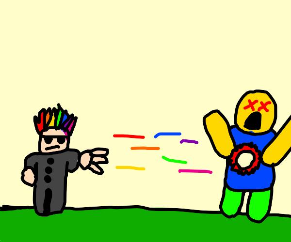 rainbow haired guy shoots rainbows at noob