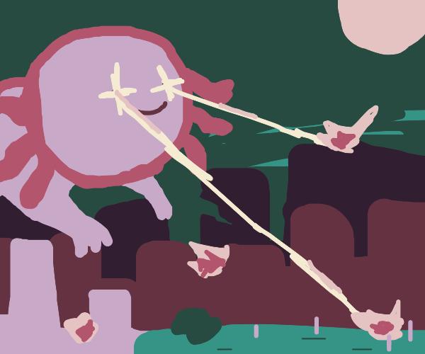 Giant Axolotl destroys city