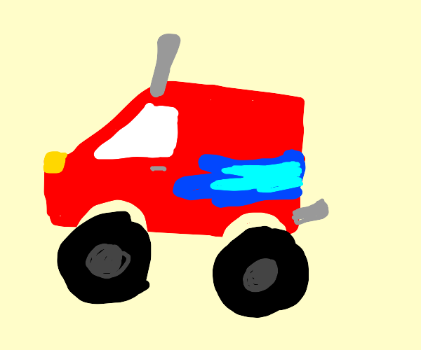 red monster truck with blue flames onthe side