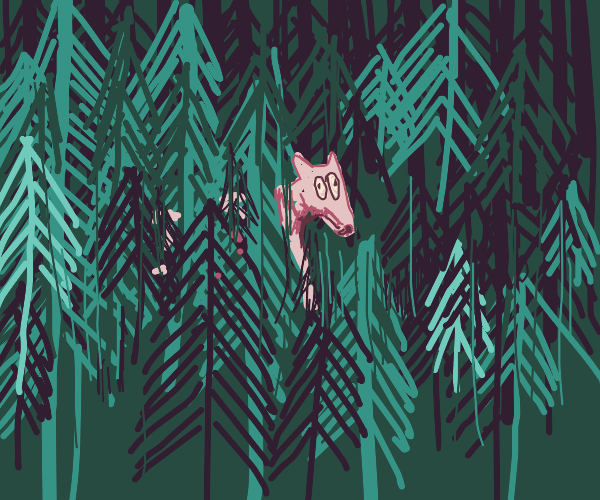 Frightened wolf