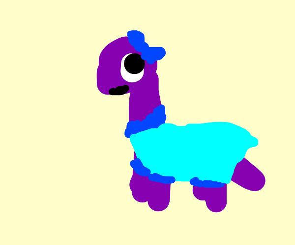 Cute purple dinosaur chick