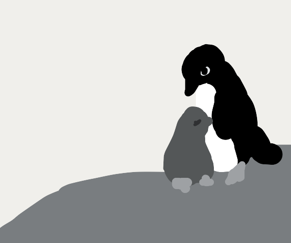 Baby penguin stays close to mama